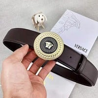 Versace New fashion human head buckle leather couple belt Coffee With Box