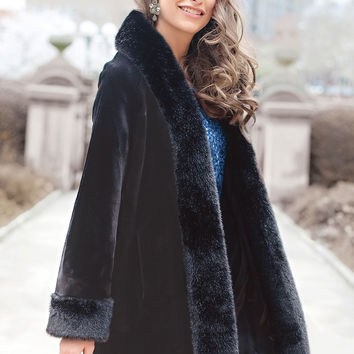 Black Sheared Beaver Tuxedo Faux Fur Coat | Fabulous-Furs