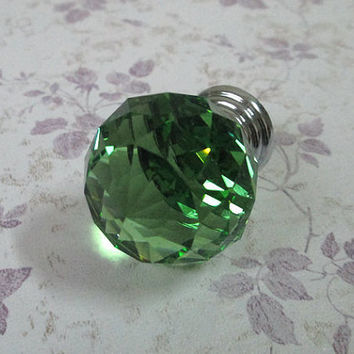 Green Glass Knobs Pull / Modern Chic Crystal Knob Shabby Cottage / Kitchen Furniture Decorative Cabinet Dresser Handle Pulls