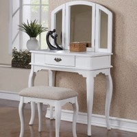 Bobkona Jaden Collection Vanity Set with Stool, White:Amazon:Home & Kitchen
