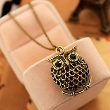 Delicate Cute Owl Small Pendant Long Chain Necklace Women's Trendy Sweater Decoration