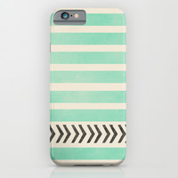 MINT STRIPES AND ARROWS iPhone & iPod Case by Allyson Johnson