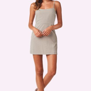 Vinny Mini Dress (Tan Gingham)