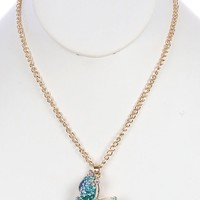 Aqua Blue Butterfly Charm Necklace