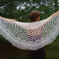 White lace shawl hand knitted