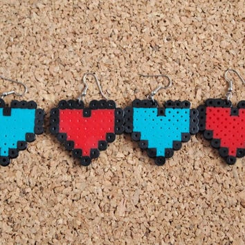 Pixel Heart Earrings - 8 bit perler hanna fusible bead video game heart level up health geekery nerdy swag FREE shipping to USA fish hook