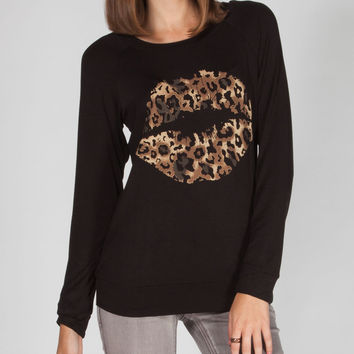 MISS CHIEVOUS Lips Womens Lace Back TEe