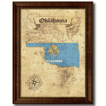 Oklahoma State Vintage Map Home Decor Wall Art Office Decoration Gift Ideas