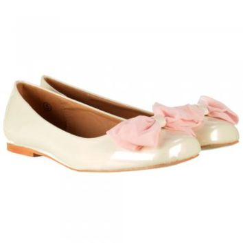 Dolcis Flat Patent Ballerina Pumps - Pink Chiffon Bow - Cream Patent - Dolcis from Onlineshoe UK