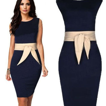 new women's fashion bandage dresses 2015 summer sleeveless lady's OL dress pencil dress slim one piece dress  S M L XL XXL = 1958350660