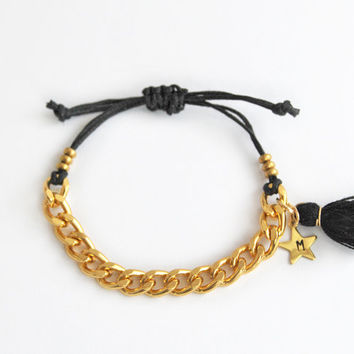 Personalized bracelet with tassel charm, initial bracelet for teen girls, hand stamped initial star charm, black and gold