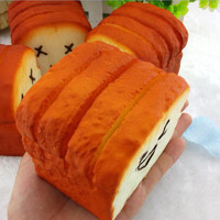 8 cm*8 cm*6.5 cm Bread Jumbo Toast Squishy Expression Card Cellphone Holder Hand Pillow Toy Bag Hanger J4U66