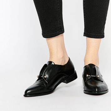 Lost | Lost Ink Black Bar Detail Flat Shoes at ASOS