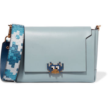 Anya Hindmarch - Bathurst python-trimmed leather shoulder bag