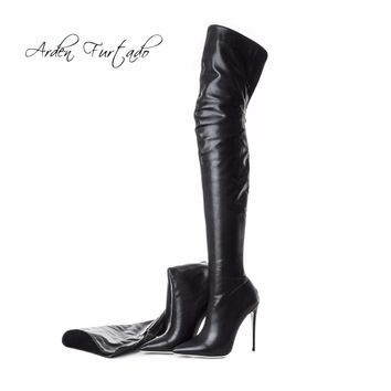 Arden Furtado 2018 new spring fashion over the knee high boots sexy high heels 12cm shoes woman back zipper boots big size 40-48