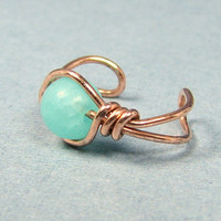 Copper Ear Cuff  Amazonite or Choice of 56 beads