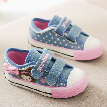 2017 New Spring Girls Canvas Shoes Kids Flats Polka Dot Fashion Sneakers Denim Children Casual Shoes Bow Girls Princess Shoes