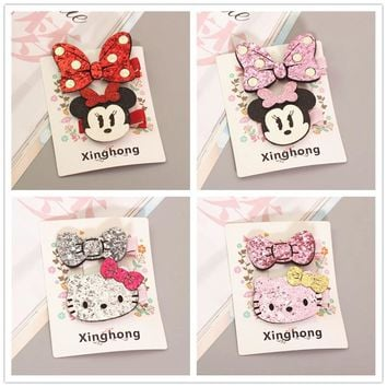 lovely Hello Kitty Minnie Mouse Ears Hairpin Children Hair Clips Bow Accessories For Baby Girls Kids Barrette headdress Headwear