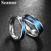 Seanuo Blue Forever Love couple Valentine's Day ring jewelry fashion unique men women stainless steel anniversary wedding rings