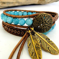 wrap leather bracelet chan luu inspired zen boho chic double two 2 wraps with aquamarine and copper beads flower button and leaf pendants