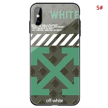 Off White Fashion New Letter Arrow Print Women Men Glass Shell Protective Cover Phone Case 5#