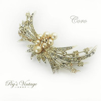 Vintage CORO Pearl & Rhinestone Spray Brooch Pin, Unique Antique Jewelry Jewellery