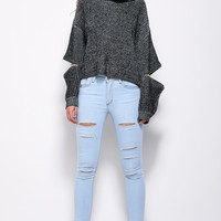 High-Neck Zipper Gray Sweater