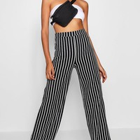 Tall Stripe Wide Leg Trousers | Boohoo