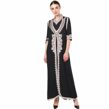 Women's Maxi Long sleeve long Dress moroccan Kaftan Caftan Jilbab Islamic abaya  Muslim Turkish Arab arabic Robes gown 1723