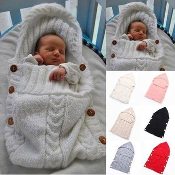 VOND4H Baby Infant Swaddle Wrap Warm Wool Blends Crochet Knitted Hoodie Swaddling Wrap Blanket Sleeping Bag