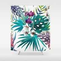 Tropical Watercolor Pattern Shower Curtain by Robin Curtiss