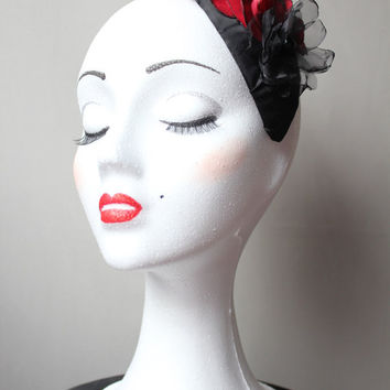 SALES- Headdress with Red Rose satin, crepe and organza flower.