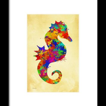 Seahorse Watercolor Art Framed Print