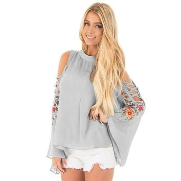 Gray Embroidered Crisscross Bell Sleeve Blouse
