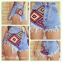 Vintage Highwaist or low rise Studded Super Frayed Colorful tribal aztec print diamond cut cut off shorts