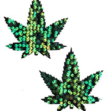 Weed Pasties in Siren Sequin