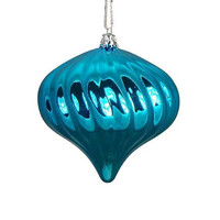 4 Shatterproof Onion Ornaments - Color:turquoise Blue