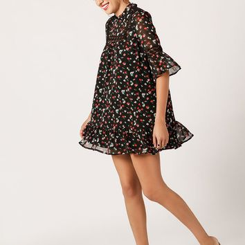 Mockneck Floral Babydoll Dress