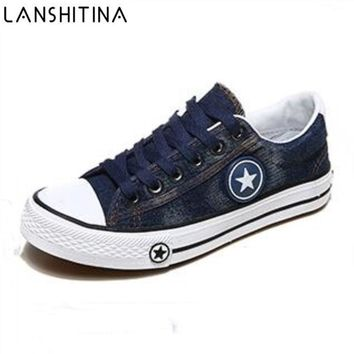 Woman Casual Shoes 2018 New Spring Autumn Female Canvas Shoes Ladies Washed Denim Flat Zapatos breathable lace up Jeans Footwear