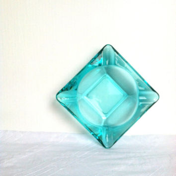 Mid Century Hollywood Regency Aqua Ashtray/Mad Men Decor