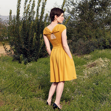 HOLLY GOLIGHTLY in MUSTARD - Muted yellow dress with pockets // pleated skirt // back cut out & bow // bridesmaid dress // vintage inspired