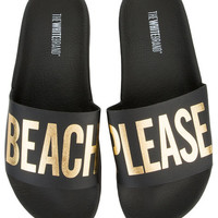 The Beach Please Slides in Black and Gold