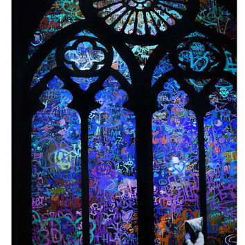 The Stained Glass Window II by Banksy Canvas Print 40 x 26 in Multi
