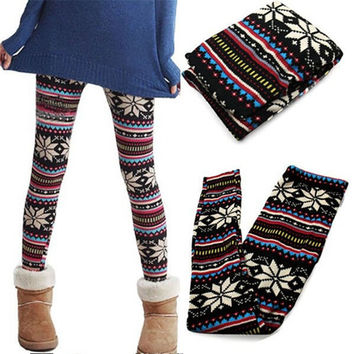 Retro knitted snowflakes women leggings multicolor pants cotton blends ankle length plus size multicolor women leggings SML088