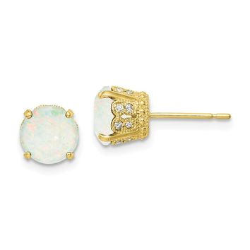 10K Yellow Gold Tiara Collection Polished Diamond Lab Created Opal Post Earrings