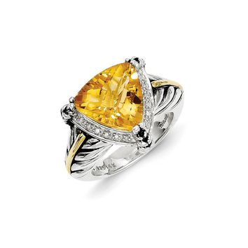 Antique Style Sterling Silver with 14k Gold 5.30 Citrine & 1/10ct. Diamond Ring