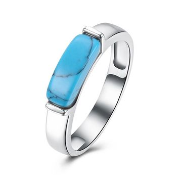 INALIS Brand Classic Simple Design Blue Kallaite Turquoises Natural Stone Rings For Women OL Style Unisex Charm Party Rings