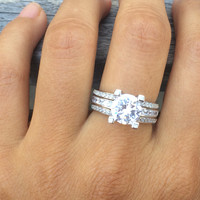 Sterling Silver Wedding Band Engagement Round White Cz 925 Ring Sets