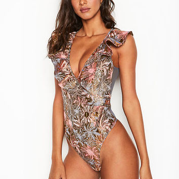 Shine Brocade Ruffle Bodysuit - Dream Angels - Victoria's Secret