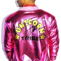 Unicorn Tribe Metallic Jacket-Pink